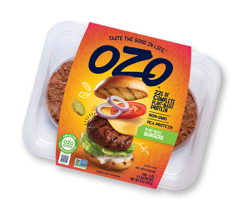OZO plant-based Burgers packaging