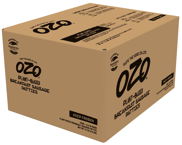 OZO plant-based breakfast sausage Foodservice case visual