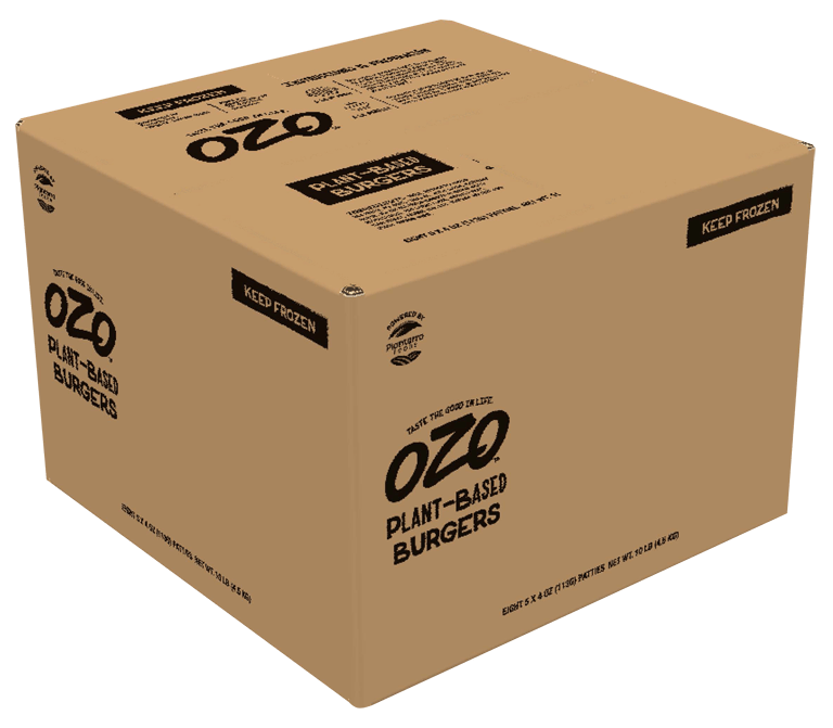 OZO plant-based burgers Foodservice case visual
