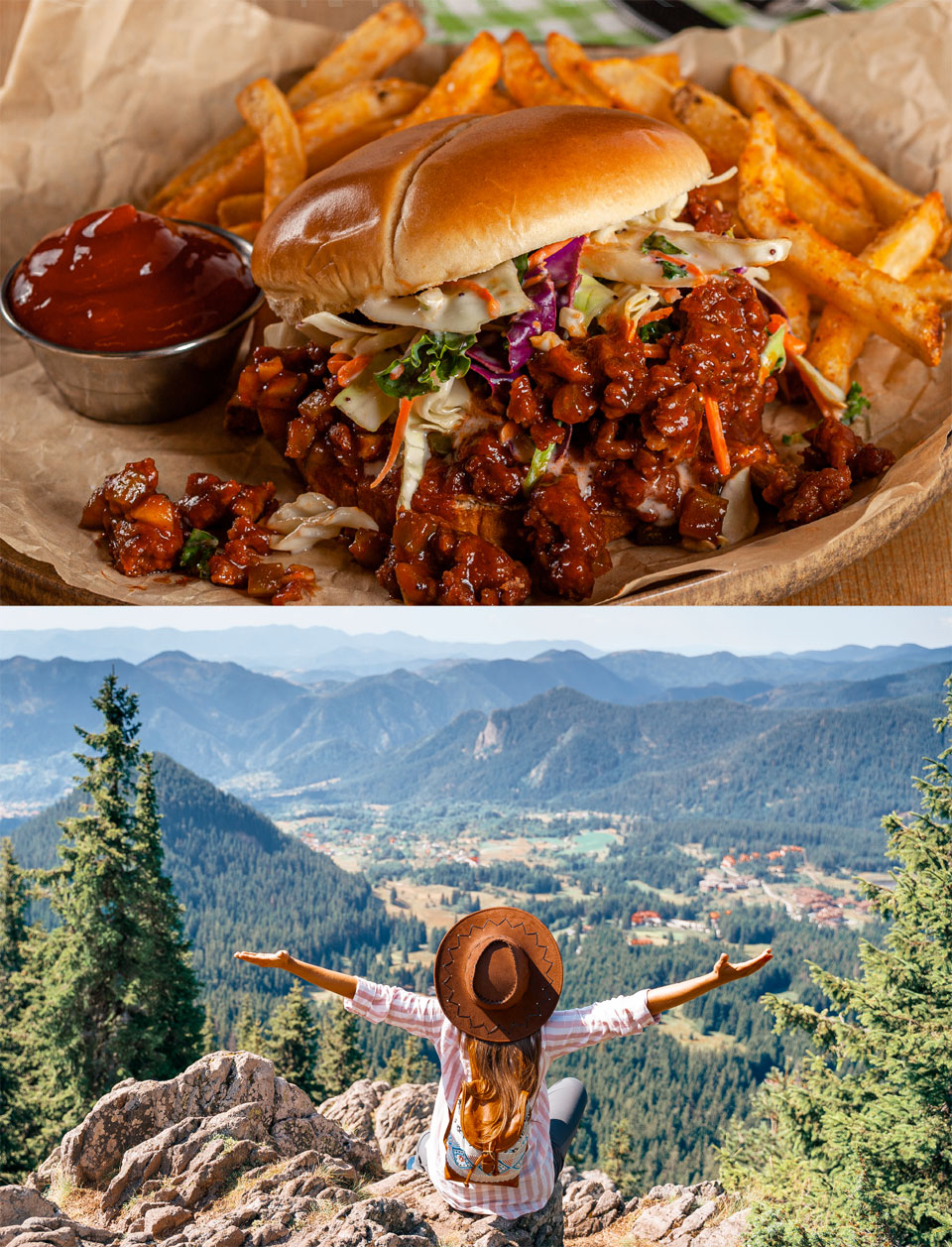 Sloppy Joe sandwich made from OZO plant-based grounds with a side of coleslaw and fries and Woman in cowboy hat with outstretched arms overlooking Colorado valley