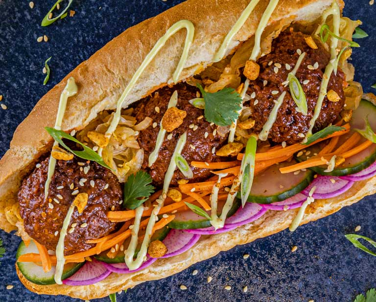 Korean Banchan Submarine sandwich made from OZO plant-based grounds