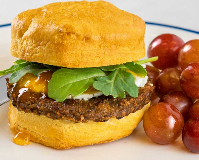 Biscuit sandwich with OZO plant-based breakfast sausage